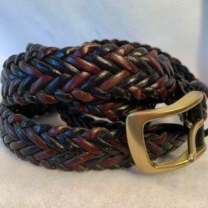 "Leather men's braided black & cordovan 52"" belt"
